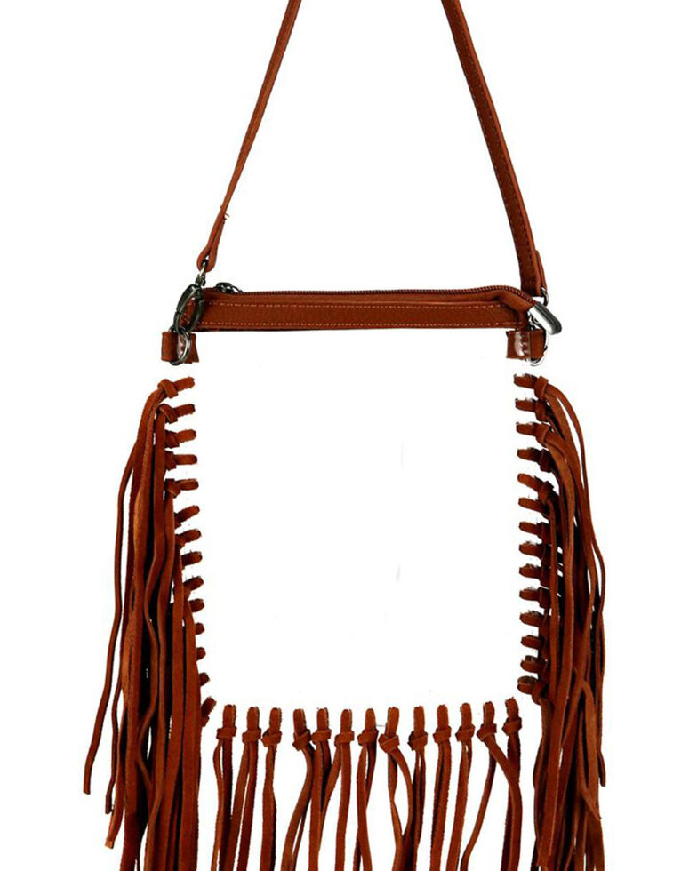 Montana West Women's Clear Fringe Crossbody Bag, Brown, hi-res
