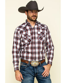 Ely Cattleman Men's Multi Large Plaid Snap Long Sleeve Western Shirt - Tall , Burgundy, hi-res