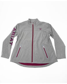 Ariat Women's Charcoal Exclusive Team Softshell Jacket - Plus, Charcoal, hi-res