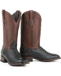 Stetson Men's Ostrich Vamp Leather Exotic Boots, Black, hi-res