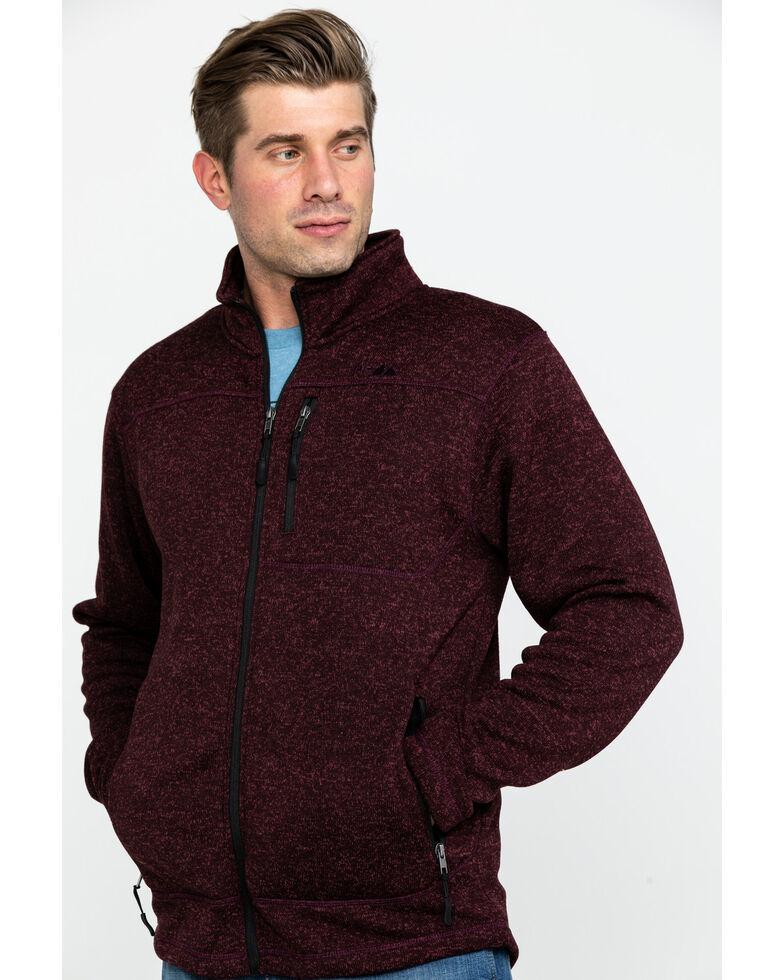 Powder River Outfitters Men's Burgundy Melange Fleece Jacket , Burgundy, hi-res