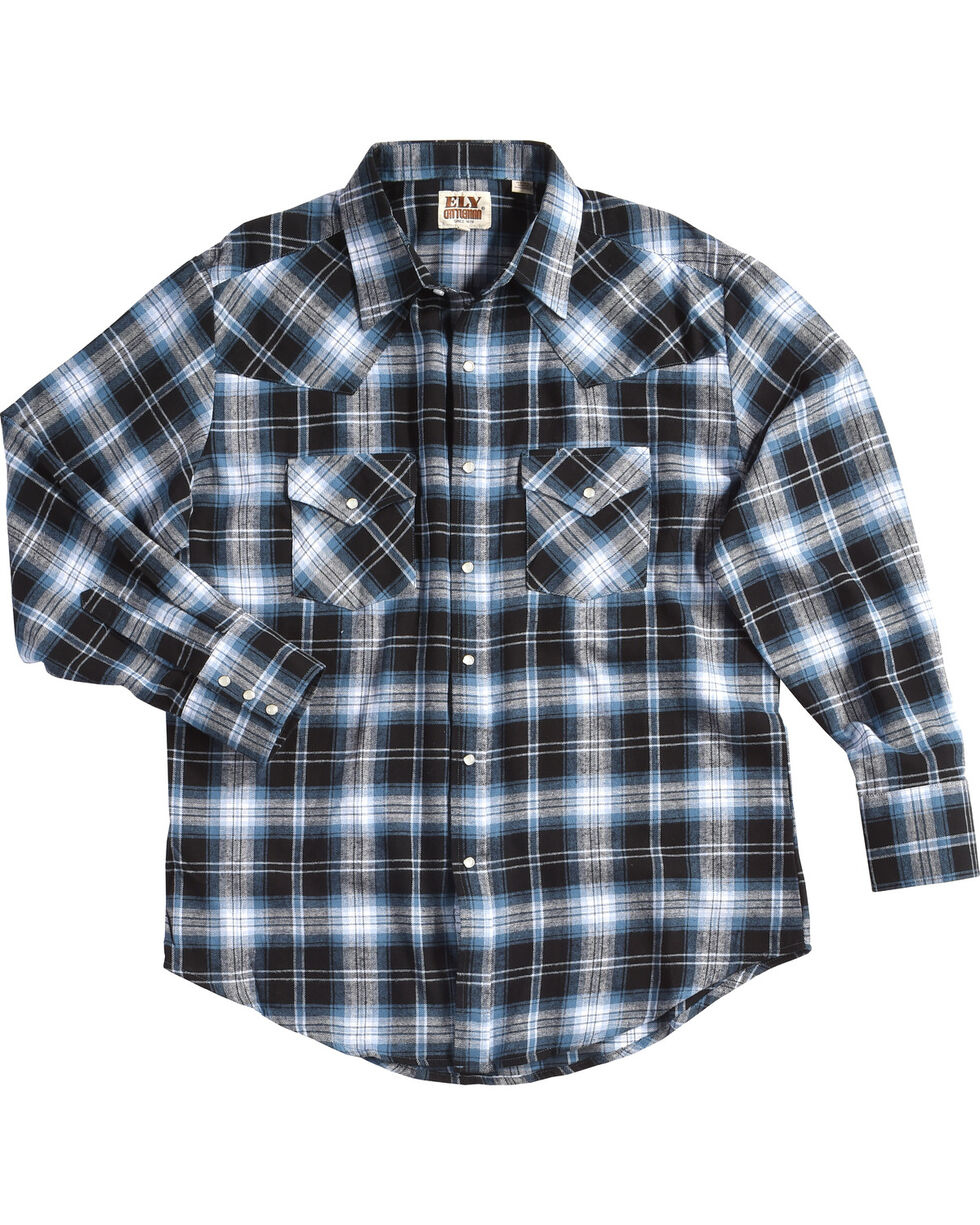 Ely Cattleman Men's Blue Flannel Western Shirt , Blue, hi-res