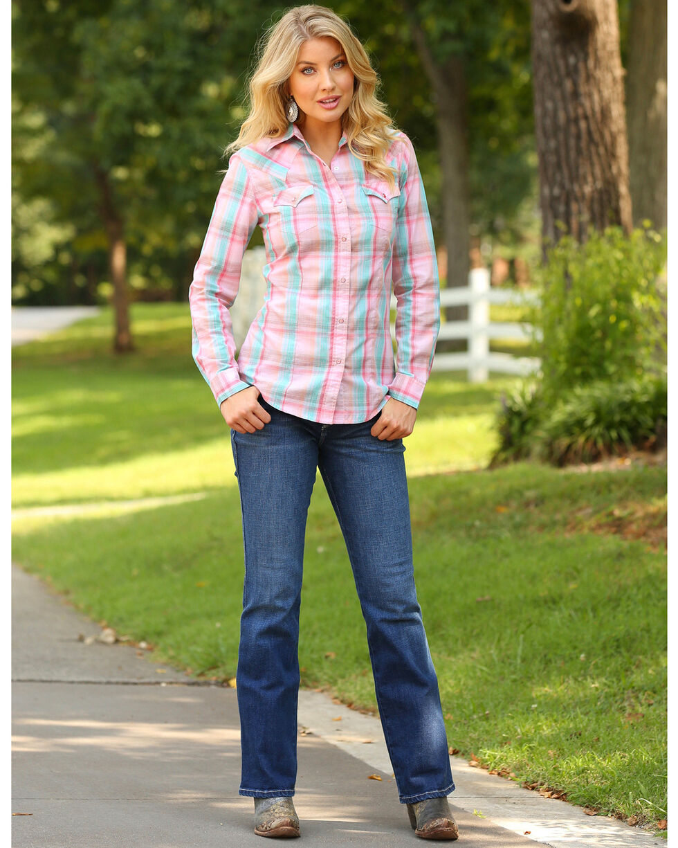 Wrangler Women's Pink Plaid Long Sleeve Western Snap Shirt, Pink, hi-res