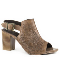 Roper Women's Beige Floral Tooled Leather Sandals, Tan, hi-res