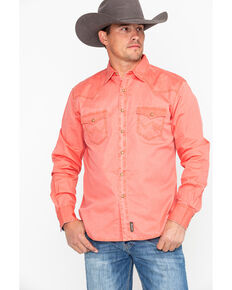 Wrangler Retro Men's Orange Solid Premium Long Sleeve Western Shirt , Orange, hi-res