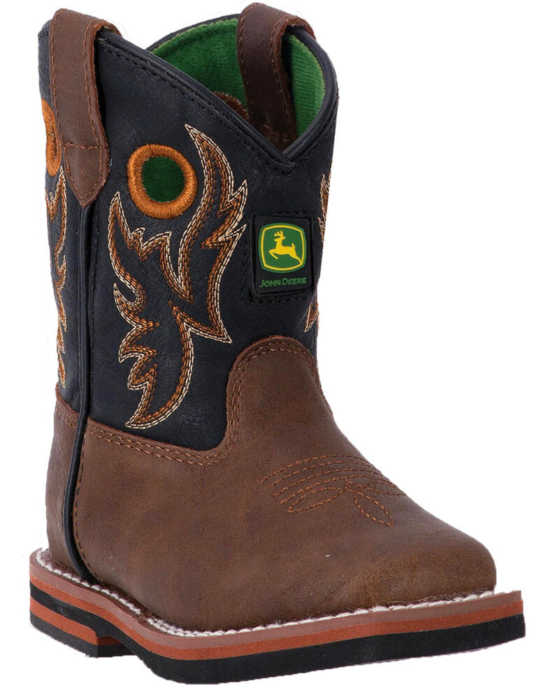John Deere Toddler Boys Orange Embroidery Boots Square Toe Boot
