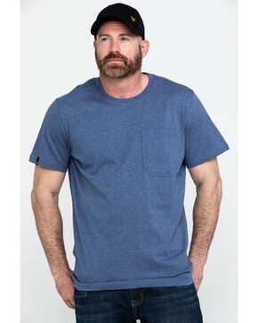 Hawx Men's Pocket Crew Short Sleeve Work T-Shirt - Big , Heather Blue, hi-res