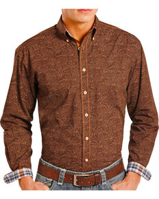 Rough Stock by Panhandle Men's Paisley Button Down Long Sleeve Shirt, Chocolate, hi-res