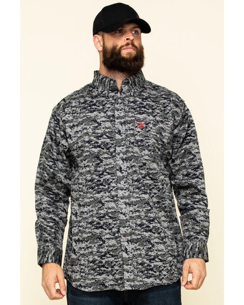 Ariat Men's Black Digi Camo FR Patriot Long Sleeve Work Shirt - Tall , Black, hi-res