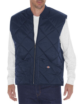 Dickie's Men's Quilted Nylon Vest, Navy, hi-res