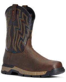Ariat Men's Rebar Flex Waterproof Western Work Boots - Soft Toe, Brown, hi-res