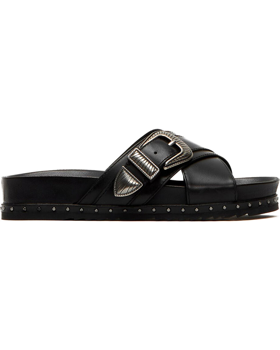 Frye Women's Lily Black Western Criss Cross Sandals, Black, hi-res