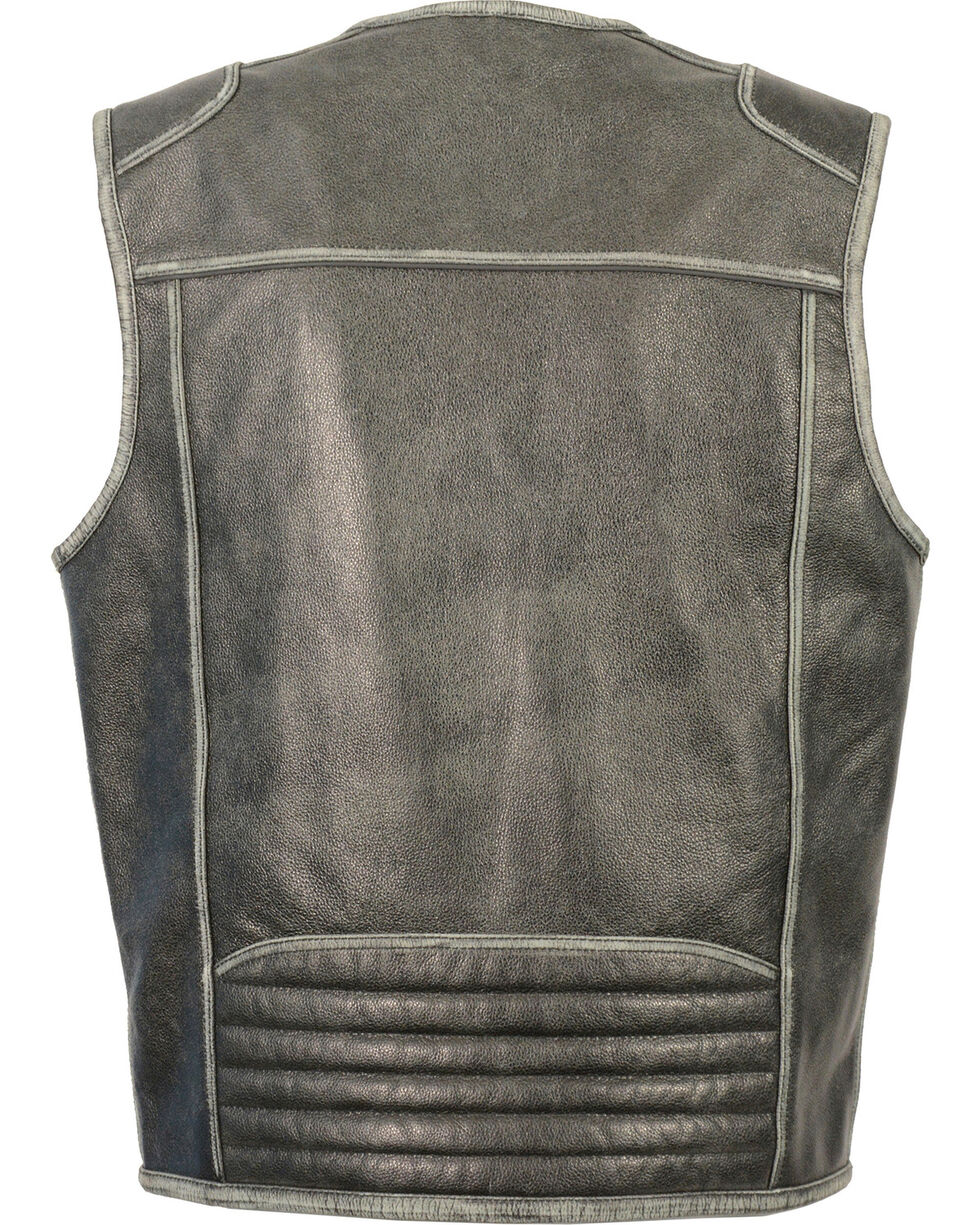 Milwaukee Leather Men's Vintage Distressed Zipper Front Vest - Big - 5X, Grey, hi-res