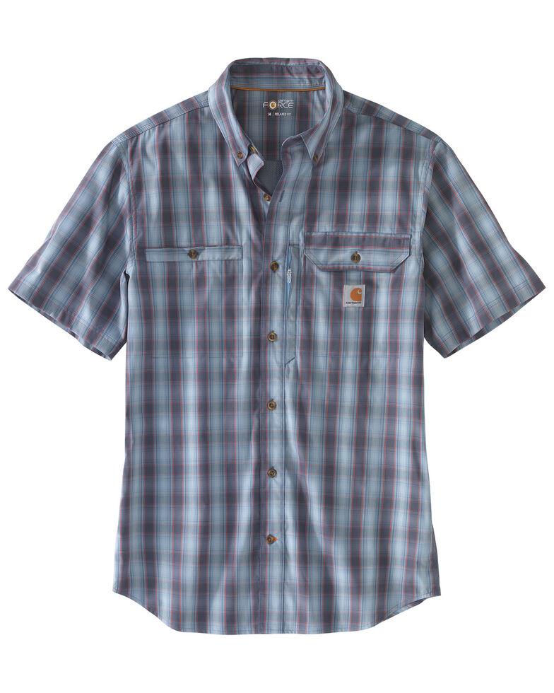 Carhartt Men's Blue Rugged Flex Rigby Plaid Short Sleeve Work Shirt - Tall , Blue, hi-res