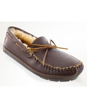 Minnetonka Men's Sheepskin Moose Slippers, Chocolate, hi-res