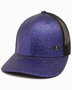 Ariat Women's Purple Glitter Corner Patch Mesh Cap , Purple, hi-res