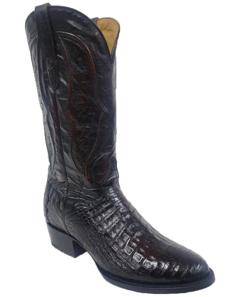 El Dorado Men's Caiman Belly Western Boots - Wide Square Toe, Black Cherry, hi-res