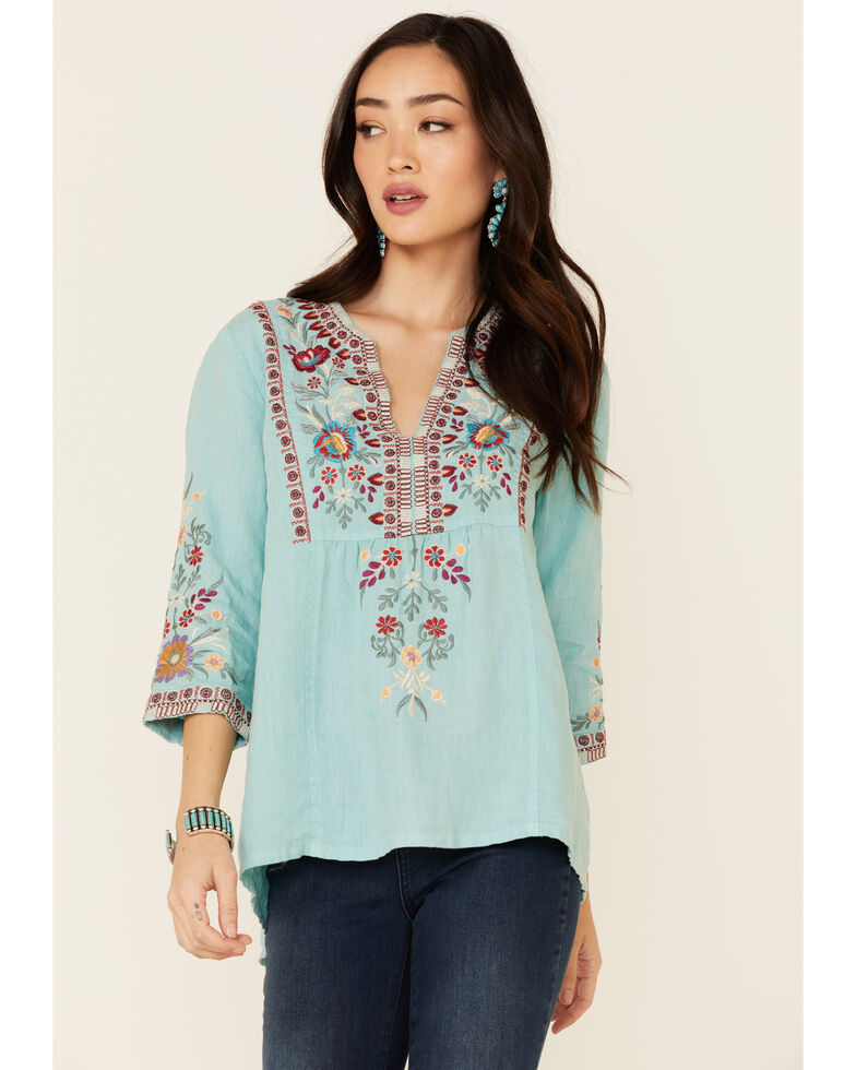 Johnny Was Women's Nya Weekend Floral Embroidery 3/4 Sleeve Top, Turquoise, hi-res