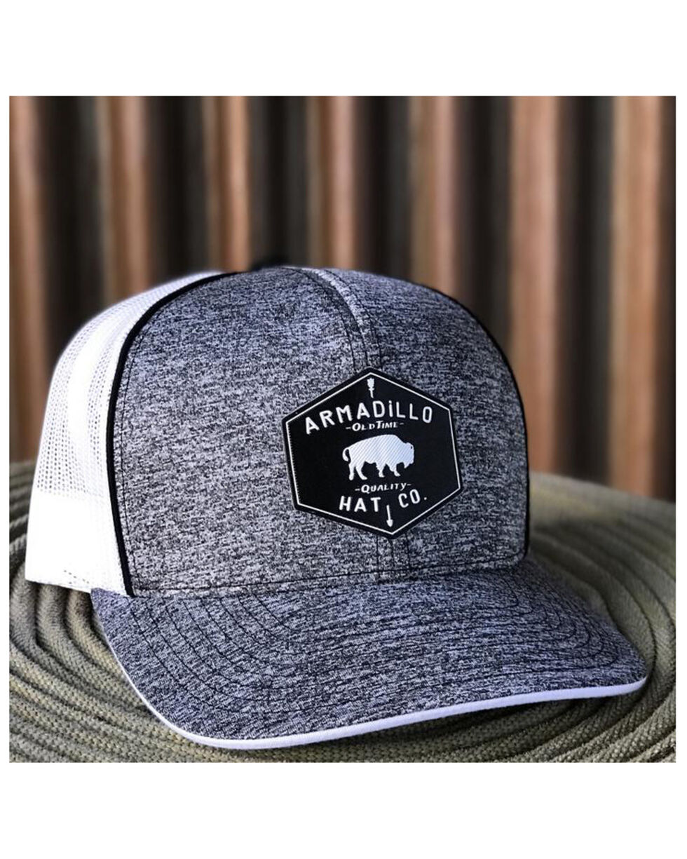 Armadillo Hat Co. Men's Hex Patch Trucker Cap, Heather Grey, hi-res