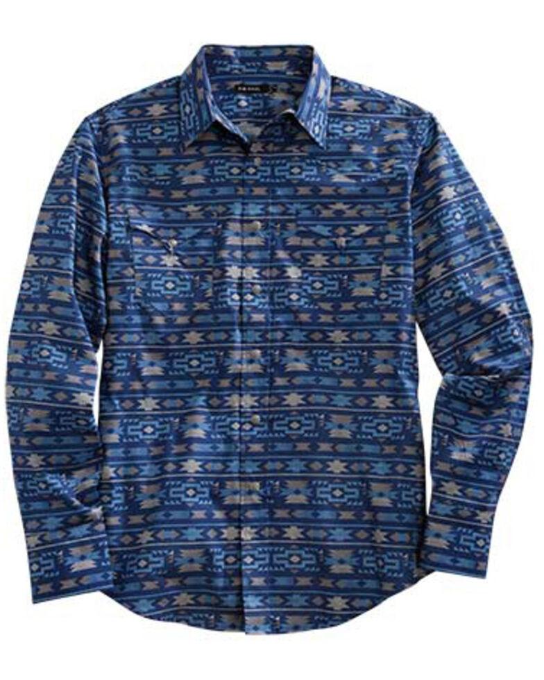 Tin Haul Men's Indigo Aztec Print Long Sleeve Western Shirt , Blue, hi-res