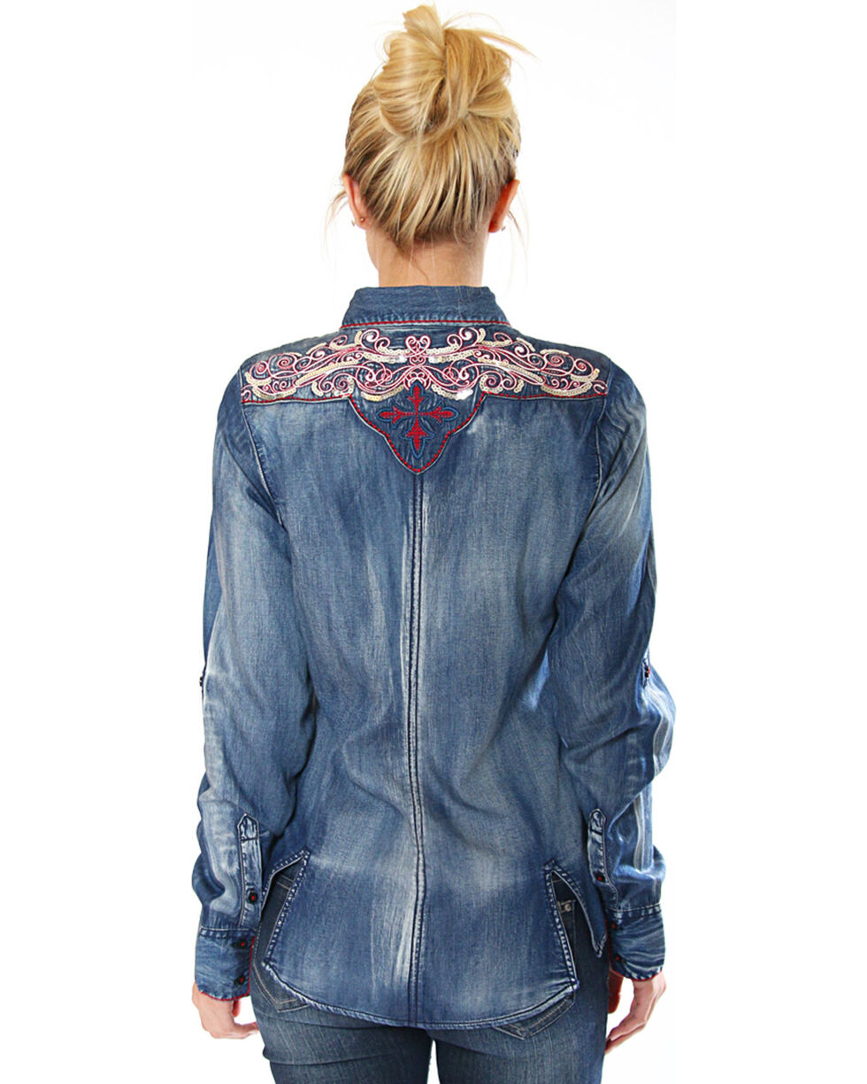 Grace in LA Women's Denim Button Down Shirt with Embroiderey, Indigo, hi-res