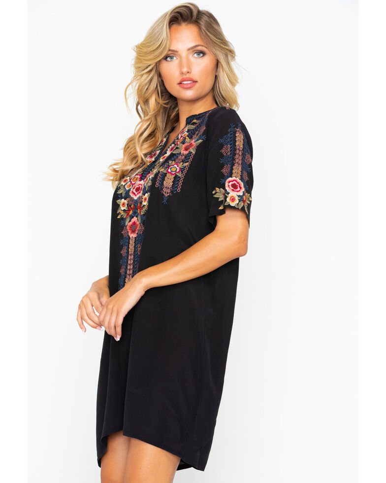 Johnny Was Women's Aaliah Easy Embroidered Short Sleeve Dress , Black, hi-res