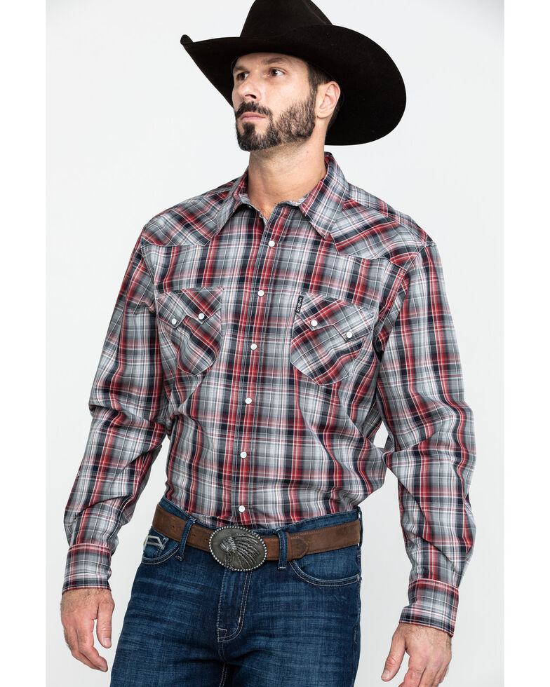 Cinch Men's Modern Multi Plaid Snap Long Sleeve Western Shirt , Purple, hi-res