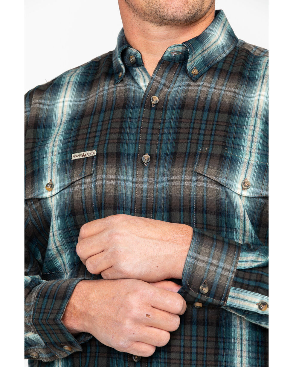 Powder River Outfitters Men's Grey Large Plaid Long Sleeve Western Shirt, Grey, hi-res