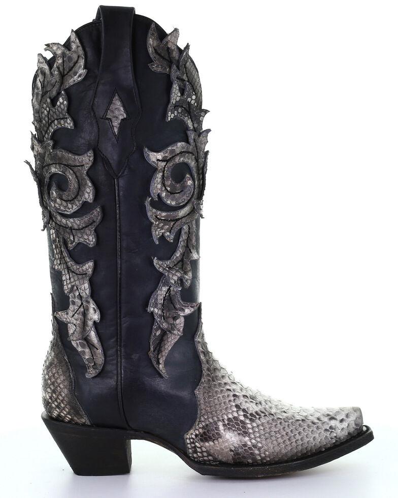 Corral Women's Python Overlay Western Boots - Snip Toe, Black, hi-res