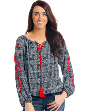 Panhandle Women's Embroidered Sleeve Tassel Peasant Top, Black, hi-res