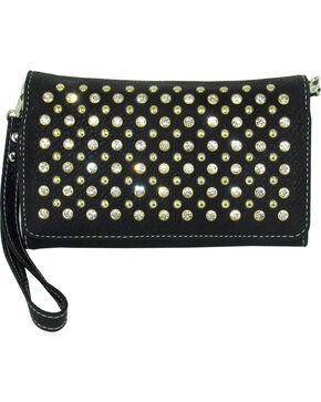 Savana Women's Black Stone & Stud Tri-Fold Wallet, Black, hi-res