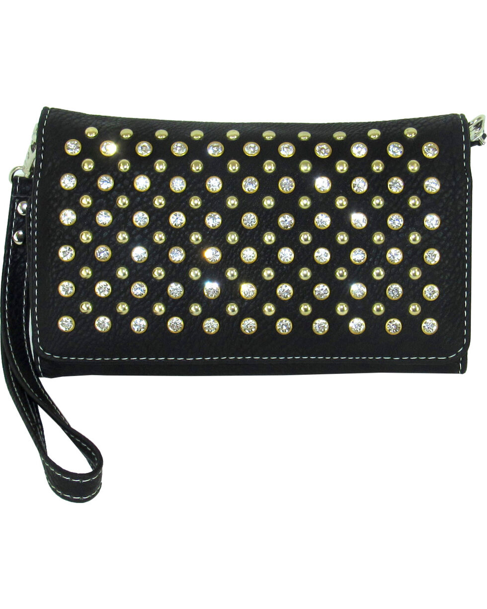 Savana Women's Black Stone & Stud Tri-Fold Wallet, Black, hi-res