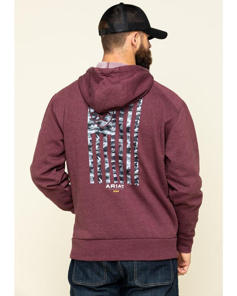 Ariat Men's Dark Burgundy Rebar Camo Flag Graphic Hooded Zip Front Work Jacket - Big , Dark Red, hi-res