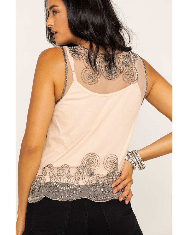 Angie Women's Nude Beaded Tank, Sand, hi-res
