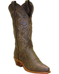 "Abilene Women's 12"" Nailhead Western Boots, Tan, hi-res"