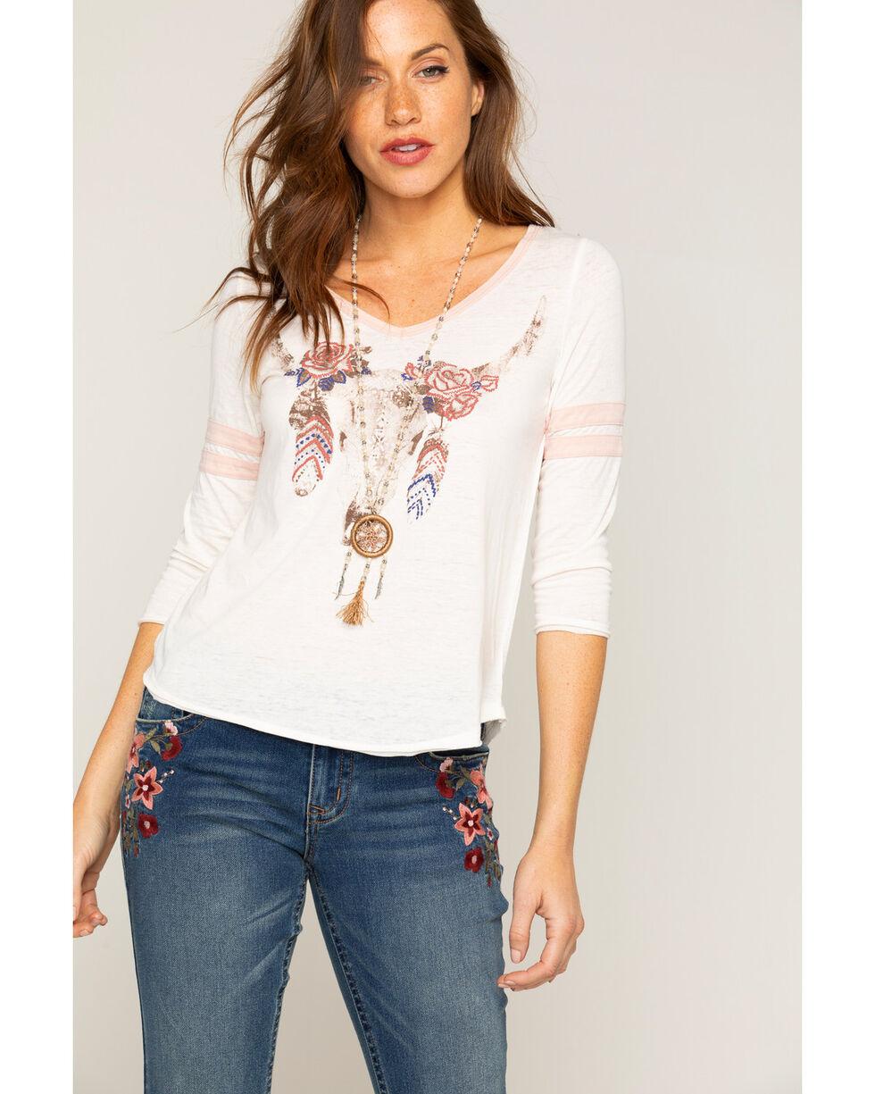 Shyanne Women's Steer Skull Graphic Long Sleeve T-Shirt, Ivory, hi-res