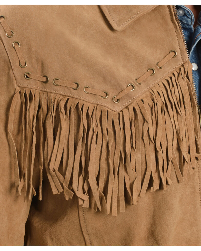 Scully Men's Boar Suede Fringe Jacket, Bourbon, hi-res