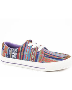 Roper Women's Purple Aztec Canvas Shoes, Purple, hi-res