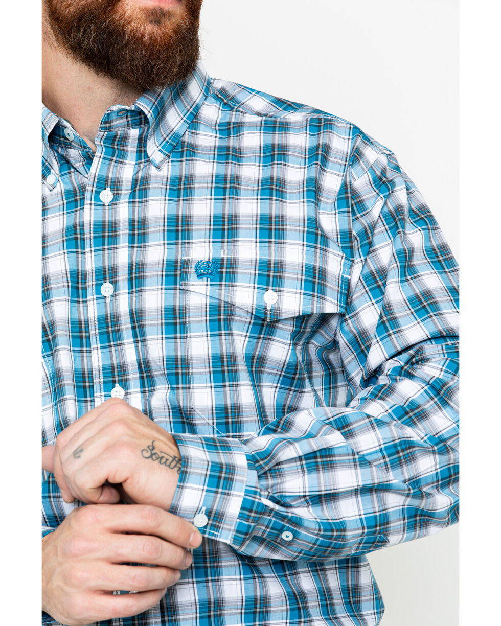 Cinch Men's Small Plaid Logo Pocket Long Sleeve Western Shirt , Blue, hi-res