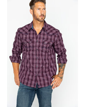 Cody James Men's Med Plaid Chicken Wire Long Sleeve Western Shirt: Big & Tall , Maroon, hi-res