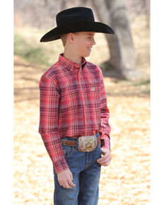 Cinch Boys' Coral Plaid Long Sleeve Western Shirt , Multi, hi-res