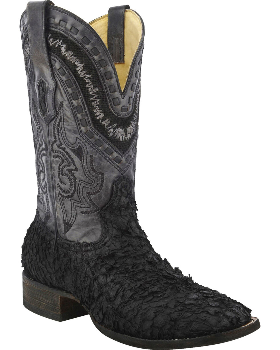 Corral Men's Sea Bass Square Toe Exotic Boots, Black, hi-res