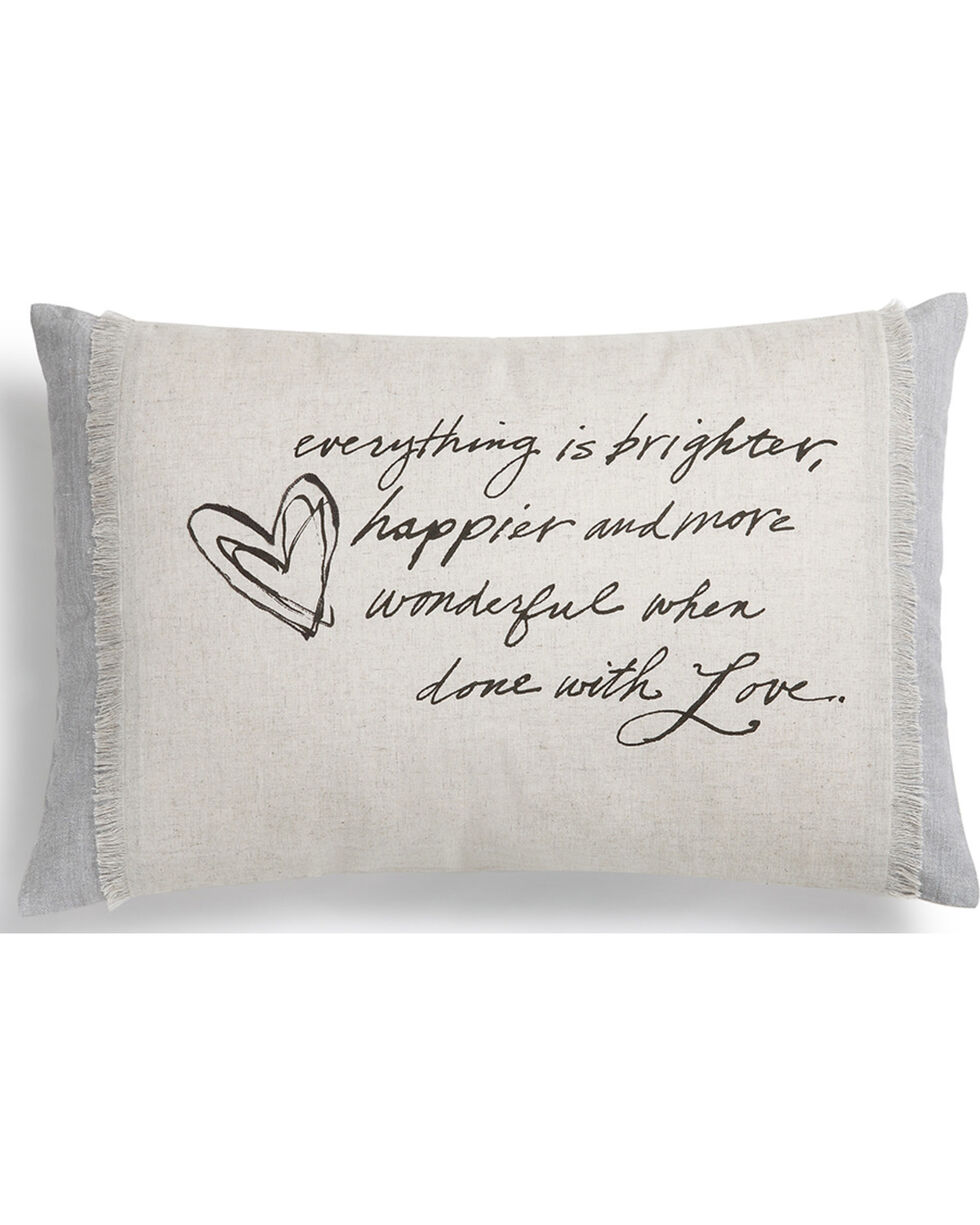 Demdaco Grey Poetic Threads Love Throw Pillow , Grey, hi-res