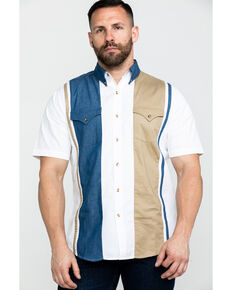 Ely Cattleman Men's Three Tone Solid Long Sleeve Western Shirt , Indigo, hi-res
