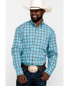 George Strait by Wrangler Men's Light Turquoise Plaid Long Sleeve Western Shirt , Turquoise, hi-res