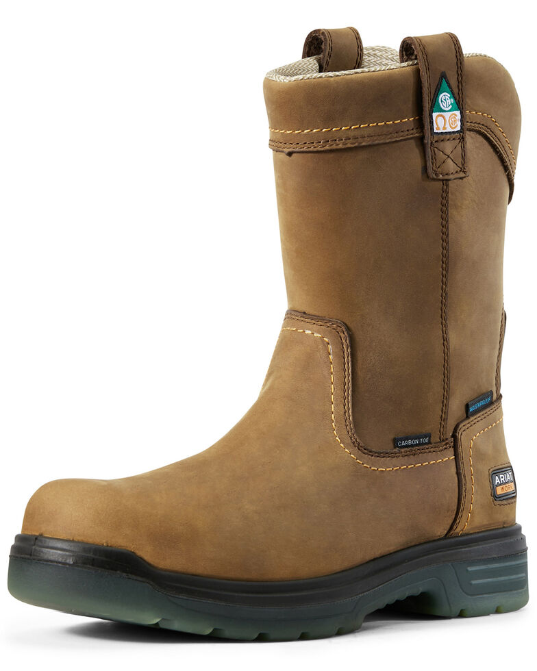 Ariat Men's Turbo Waterproof Work Boots - Carbon Safety Toe, Brown, hi-res
