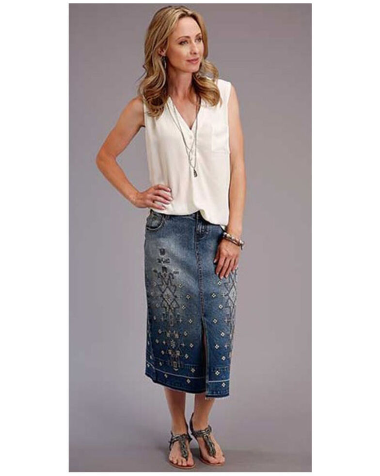 Stetson Women's Blue Embroidered Long Denim Skirt, Blue, hi-res