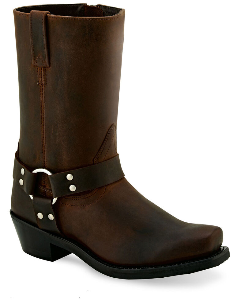 Old West Women's Harness Moto Boots - Square Toe, Brown, hi-res