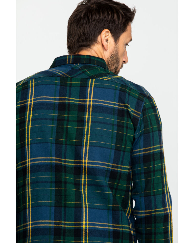 Levi's Men's Green Dawson Plaid Button Long Sleeve Western Flannel Shirt , Dark Green, hi-res