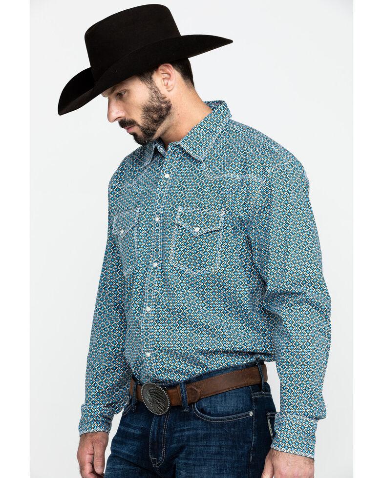 Wrangler 20X Men's Advanced Comfort Blue Geo Print Long Sleeve Western Shirt , Blue, hi-res